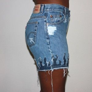 Levi's Jeans - Levi's Vintage 550 Custom Cut Off Fire Flame Denim
